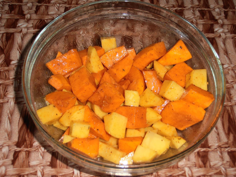 Рецепт тыквы с картошкой в духовке